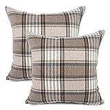 YOUR SMILE Set of 2 Retro Farmhouse Outdoor/Indoor Buffalo Tartan Chequer Stripe Plaid Cotton Linen Decorative Throw Pillow Case Cushion Cover Pillowcase for Sofa Chair,Brown,22x22inch