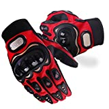 Tera Tactical Gloves Tactical Military Hard Knuckle Gloves/Motorcycle Gloves Full Finger for Motorcycle Paintball Airsoft Cycling Hiking Camping (Red, X-Large)