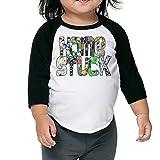 Kim Lennon Home Comic Stuck Kids 3/4 Sleeve Raglan T-shirt Black 4 Toddler