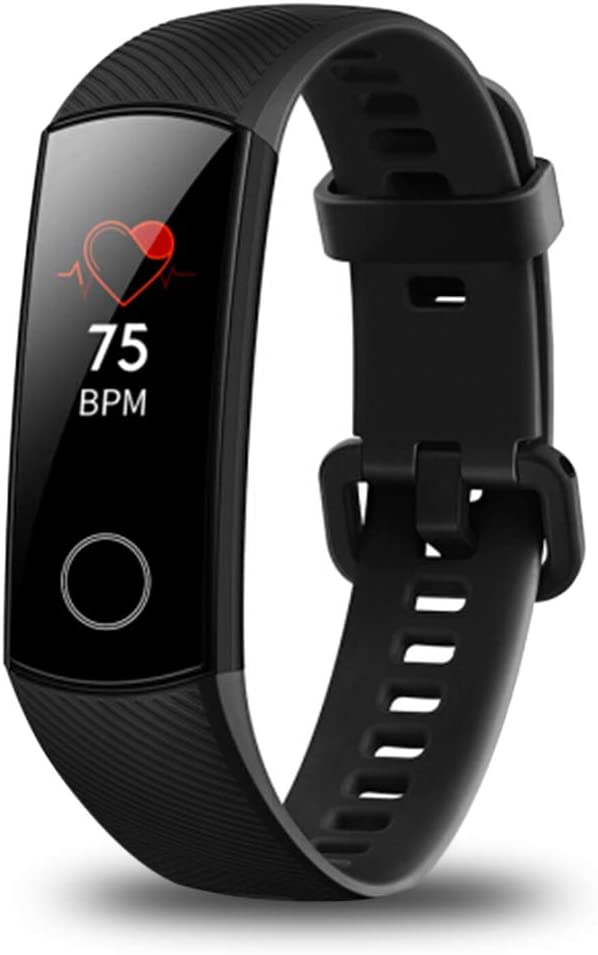 Huawei Honor Band 4 6-Axis Inertial Heart Rate Monitor Infrared Light Wear Detection Sensor Full Touch AMOLED Color Screen Home Button All-in-One Activity Tracker 5ATM Waterproof (Black)