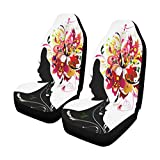 INTERESTPRINT Harmony Girl with Floral Hair Modern Car Seat Covers Set of 2 Vehicle Seat Protector Car Covers for Auto Cars Sedan SUV