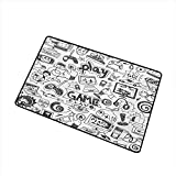 Bedroom Doormat Video Games Monochrome Sketch Style Gaming Design Racing Monitor Device Gadget Teen 90s W30 xL39 Suitable for Outdoor and Indoor use