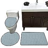 Scale 3 Piece Toilet mat Set Hand Drawn Fish Skin Pattern Geometric Half Circles Antique Vintage Inspirations Bathroom and Toilet mat Set Teal White
