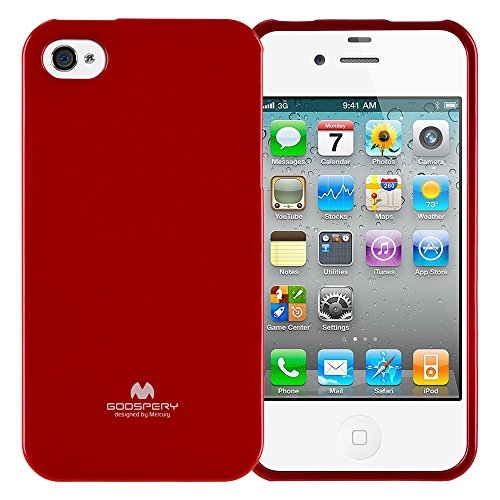 GOOSPERY Marlang Marlang iPhone 4/4S Case - Red, Free Screen Protector [Slim Fit] TPU Case [Flexible] Pearl Jelly [Protection] Bumper Cover for Apple iPhone4S, IP4-JEL/SP-RED