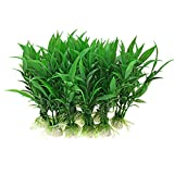 Jardin Plastic Aquarium Tank Plants Grass Decoration, 10-Piece, Green