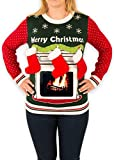 Women's iPad Tablet Fireplace Ugly Christmas Sweater in Green (X-Large)