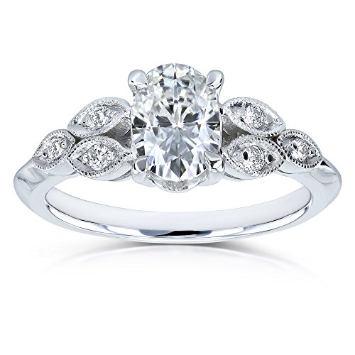 51BDqodh8JL Kobelli vintage engagement ring Oval 5x7mm near colorless moissanite (H-I color grade) Diamond accents