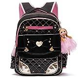 Waterproof PU Leather Kids Backpack Cute Princess School Bookbag for Primary Girls (Large, Black)