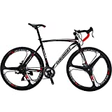 Eurobike Road Bike EURXC550 21 Speed 54 cm Frame 700C 3-Spoke Wheels Road Bicycle Dual Disc Brake Bicycle Blackwhite