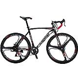 Eurobike Road Bike EURXC550 21 Speed 54 cm Frame 700C 3-Spoke Wheels Road Bicycle Dual Disc Brake Bicycle Blackwhite