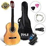 Beginner 36' Classical Acoustic Guitar - 6 String Junior Linden Wood Traditional Guitar w/Wooden Fretboard, Case Bag, Tuner, Nylon Strings, Picks, Cloth, Great for Beginners, Children - Pyle PGACLS82