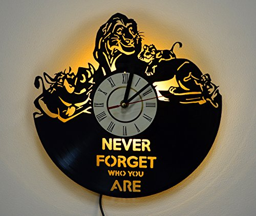 Lion King Design Lighting Vinyl Record Wall Clock, Night Light Function, Original Nursery Interior Decor, Perfect Gift Idea for Children and Youth
