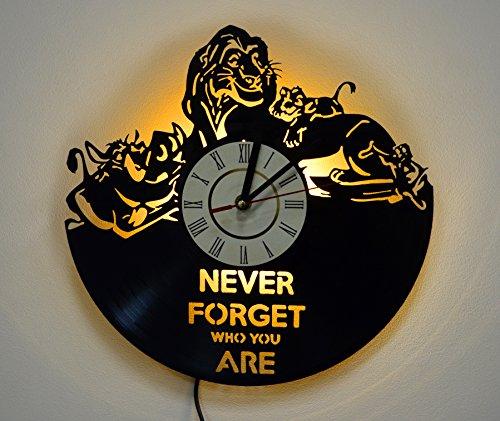 Lion King Design Lighting Vinyl Record Wall Clock, Night Light Function, Original Nursery Interior Decor, Perfect Gift Idea for Children and Youth