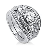 BERRICLE Rhodium Plated Sterling Silver Round Cubic Zirconia CZ Art Deco Halo Engagement Wedding Ring Set 2.48 CTW Size 7.5