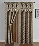 Golden Linen Luxury Curtain/Window Panel Set Ragad Collection 2pc Curtain Set with Attached Valance and Backing 55'X84' Each(Brown)