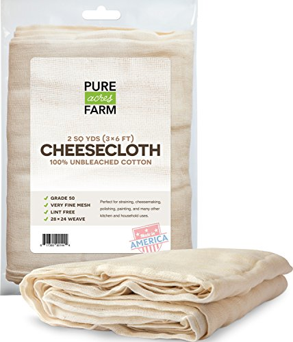 Pure Grade 50 100% Unbleached Cotton Cheesecloth Strain, 2 SQ