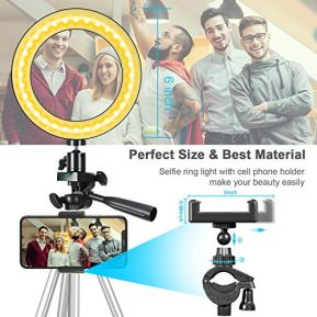 ODOM-6-Selfie-Ring-Light-with-Stand-for-Cell-Phone--Dimmable-LED-Camera-Makeup-Light-for-YouTube-Tiktok-Video-Vlog-Live-Streaming--3-Light-Mode-9-Brightness-Levels-Ringlight-for-iPhone-Android