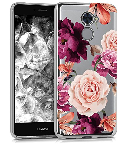 Huawei Ascend XT2 Case, Huawei Y7 Prime Case with Flowers BAISRKE Slim Shockproof Clear Floral Pattern Soft Flexible TPU Back for Huawei Y7 Prime/Ascend XT2 H1711 / Elate 4G LTE [Purple Pink]
