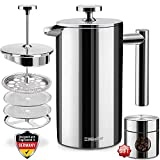 Mueller French Press Double-Wall Stainless Steel Mirror Finish (34oz) 20% Heavier Duty Coffee/Tea Maker: Multi-Screen System 100%, 18/10 Stainless Steel, Rust-Free, Dishwasher Safe