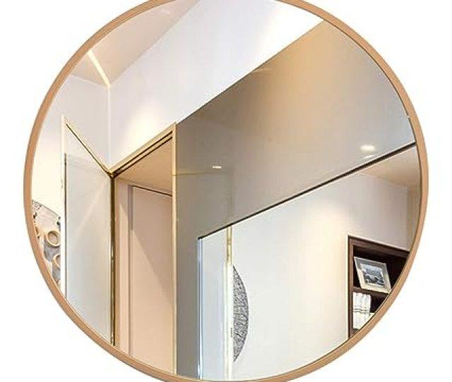 Amazon Com Bathroom Mirror Mirror Border Makeup Mirror Wooden Frame Large Round Mirror Wall Mirror Color Wood Color Size 50cm Home Kitchen