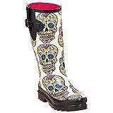 Blazin Roxx Women's Rocki Sugar Skull Rain Boot White 8 US