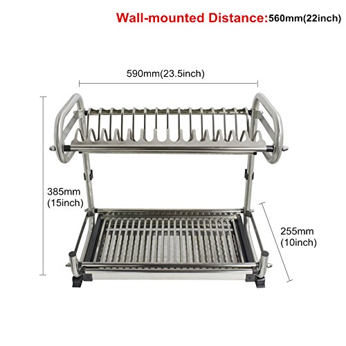 Probrico 2-Tier Stainless Steel Dish Drying Dryer Rack 590mm(23.5') Drainer Plate Bowl Storage Organizer Holder Wall Mounted Distance:560mm(22')