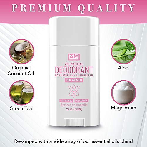 M3 Naturals All Natural Deodorant for Women with Magnesium, Apricot and Chamomile - Long-Lasting, Non-Toxic, Free of Aluminum, Baking Soda, Parabens, Sulfates and Gluten – Vegan, Organic 2.5 oz 6