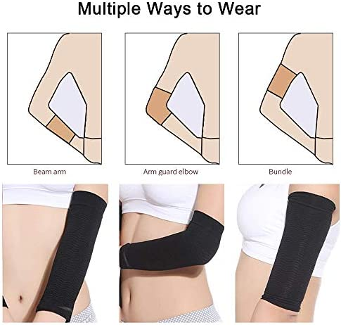 2 Pair Arm Slimming Shaper Wrap, Arm Compression Wrap Sleeve Helps Lose Arm Fat, Tone up Arm Shaping Sleeves for Women, Sport Fitness Arm Shapers(Beige + Black) 6