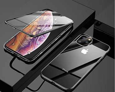 ANVIKA 2 in 1 Magnet Flip Case for I-Phone 12 Pro Magnetic Case Anti Slip Grip and Camera Protection with 9H Double Side Tempered Glass Hard Magnetic Adsorption Flip Cover [Black]