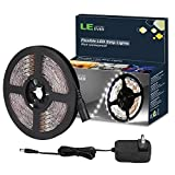 LE 12V LED Light Strip Kit, Flexible, 300 LEDs SMD 2835, 16.4ft Tape Light Kit for Home, Kitchen, Party, Christmas and More, Power Adapter Included, Daylight White