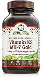 NutriGold Vitamin K2 (Food-Sourced as MK-7) Gold - Bone and Heart Support - 100 mcg (120 Liquid Veggie Capsules)
