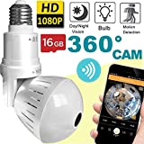 2019 Bulb WiFi IP Camera Wireless Fisheye Spy Hidden Cameras 360° Panoramic for Home Security System Baby Nanny Pet Indoor Night Vision Motion Detection Alarm Smart Home Gifts [Free 16GB SD Card ]
