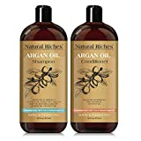 Moroccan Argan Oil Organic Shampoo & Conditioner Set Sulfate Free (2 x 16 Fl OZ), volumizing daily use hair regrowth restoration formula for hair Loss. Vitamin enriched infused with Keratin.