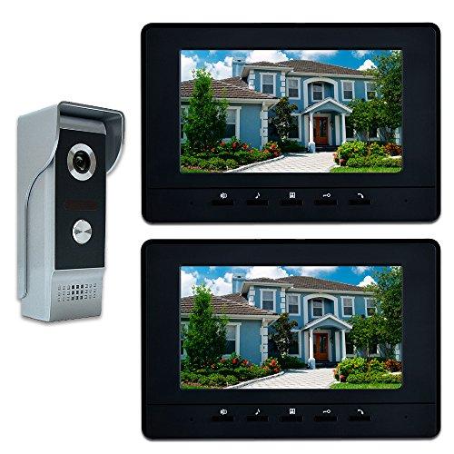 AMOCAM Video Doorbell Phone, 7' Video Intercom Monitor Doorphone System, Wired Video Door Phone HD Camera Kits Dual-Way Intercom for Villa House Office Apartment 1-IR Camera 2-LCD Color Monitor