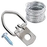 HomeDone D Ring Picture Hangers 50-Pack Heavy Duty with Screws and 23 Feet Wire
