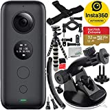 Insta360 ONE X Action Camera with 8PC Accessory Bundle - Includes: SanDisk Extreme 32GB microSDHC Memory Card + Suction Cup Mount + Gripster Tripod + Helmet Arm Mount Kit + Bike Mount Kit + More