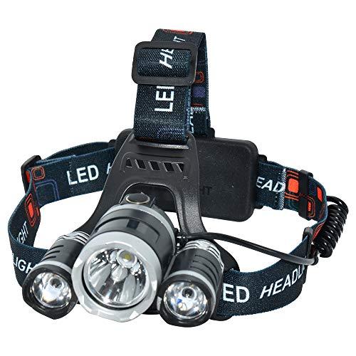 YL TRD Frontal Lámpara Led para Cabeza Recargable 3 Cree T6, Foco Luces Headlamp Faros LED,...