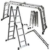 OxGord Aluminum Folding Scaffold Work Ladder 12.5 ft Multi-Fold Step Light Weight Multi-Purpose extension - MAX WEIGHT 300 LBS