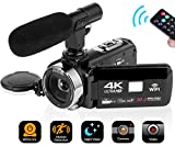 SEREE Camcorder 4K 30MP WiFi Control Digital Camera 3.0' Touch Screen Night Vision Video Camcorder Vlogging Camera with External Microphone