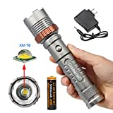 4000LM LED T6 Zoomable Focus Flashlight Torch Lamp + 18650 Battery + US Plug AC Charger