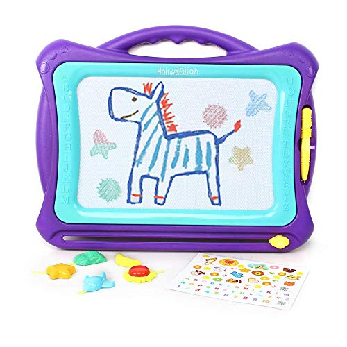 Hailey&Elijah Magnetic Drawing Board Colors Writing Painting Sketching Pad with 5 Stamps and Sticker for Toddler Boy Girl Kids Skill Development (Purple) (Purple)