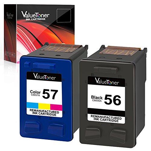 Valuetoner Remanufactured Ink Cartridges for HP 56 & 57 C9321BN C6656AN C6657AN for Deskjet 5550 5650 5150, Photosmart 7350 7260 7450 7550 7760, PSC 2210 Printer (1 Black, 1 Tri-Color, 2 Pack)