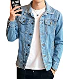 Comfy-Men Utility Motorcycle Slim Casual Button Down Denim Jacket Light Blue S