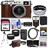 Fujifilm X100F Wi-Fi Digital Camera (Brown) with 64GB Card + Battery & Charger + Leather Case + Tripod + Flash + Tele/Wide Lens Kit