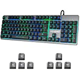 Vehemo Gaming Keyboard USB Wired RGB Keyboard LED Backlit Keyboard 7 Colors Breathing LED Light Computer Keyboard with Ergonomic Wrist Rest All-Metal Panel 104 Key Keyboard for PC Laptop