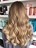 Full Shine Skin Weft Lace Clip In Human Hair Real 2 pcs With 1 Weft Halo Extensions Remi Hair Flip Extensions 100% Real Human Invisible Straight 14 Inch Color#10 And #14 Balayage