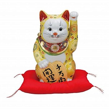 Jpanese traditional ceramic Kutani ware. Lucky charm ornament. Beckoning cat. Yellow mori. With paper box. ktn-K5-1601