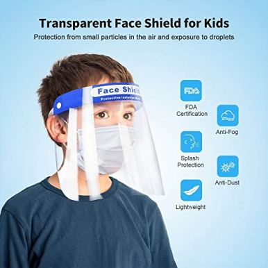 Sable-Kids-Safety-Face-Shield-10-Pack-Reusable-Adjustable-Transparent-Full-Face-Cover-Anti-Saliva-Windproof-Dustproof-Eyes-and-Face-Protection