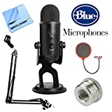 Blue Microphones Yeti Professional USB Desk Microphone - Blackout (BLACKOUTYETI) + Suspension Boom Scissor Arm Stand + Pop Filter Microphone Wind Screen + Mic Stand Adapter + MicroFiber Cloth