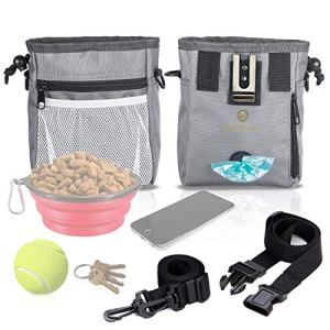 Dog Treat Pouch – Pet Snacks, Toys Training Tools Carrier Built-in Poop Bag Dispenser – Stylish, Multi-wear, Multipurpose – Weather-Resistant Nylon Fabric Material